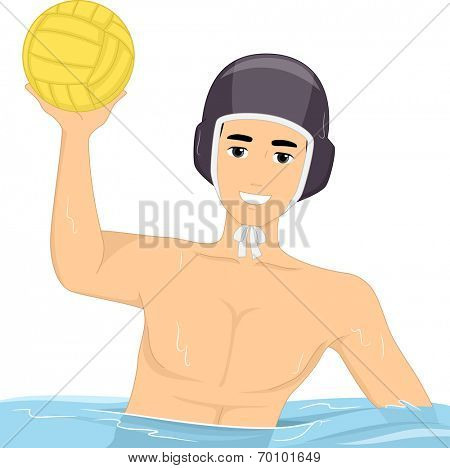 Illustration of a Guy Playing Water Polo