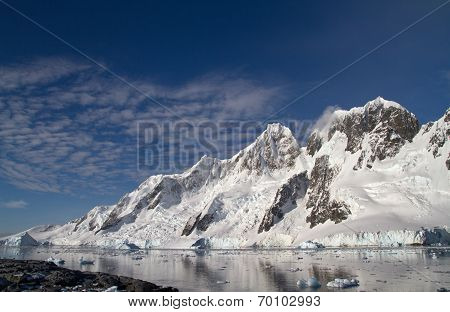 Mountain Range On One Of The Islands Near The Antarctic Peninsula
