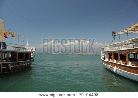 Boats moored in the port of Fethiye