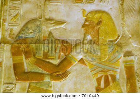 Anubis and Pharoah Seti carving