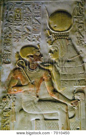 Ancient Egyptian goddess Isis with Pharoah Seti