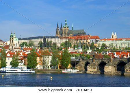 Cityview Of Prague With Castle, River Vltava And Charles Bridge