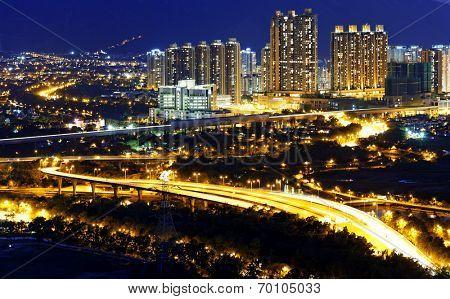 Urban downtown at sunset moment, Hong Kong Yuen Long