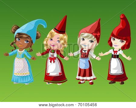 Gnome Girls in Native Outfit