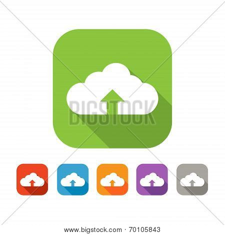 Color set of flat cloud uploading icon