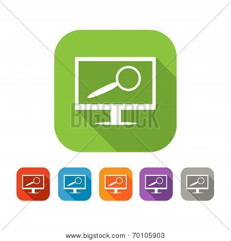 Color set of flat computer search  icon