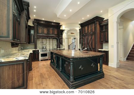 Kitchen With Dark Cabinetry