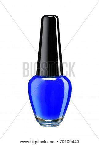 Bottle of blue nail polish