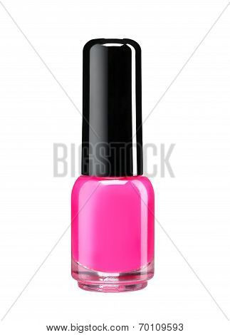 Bottle of pink nail polish