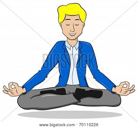 Businessman Meditating In Lotus Position And Floating