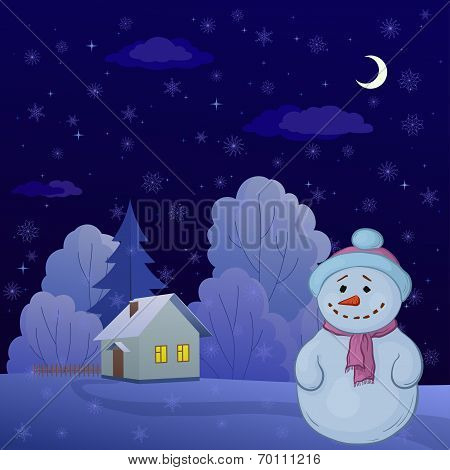 Snowman in a winter forest