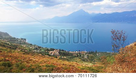 Picturesque View To Garda Lake And Shrubbery In Autumnal Colors, Italy