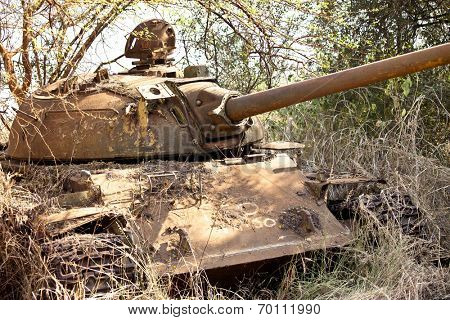destroyed northern Sudanese tank from civil war in South Sudan