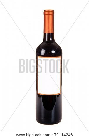 Generic bottle of red wine isolated on white ready for you to add your own label