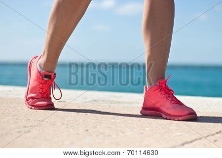 Close-up Of Woman's Jogging Shoes