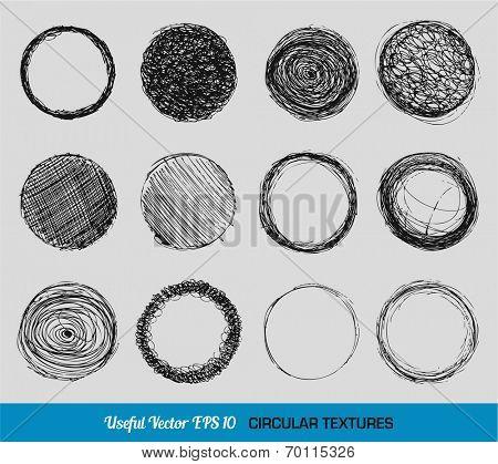 Hand drawn vintage circular textures set