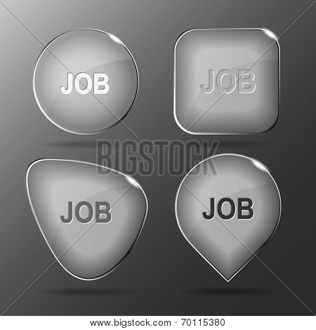Job. Glass buttons. Raster illustration.