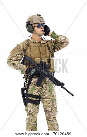 Soldier Talking Portable Radio Station. Isolated On White