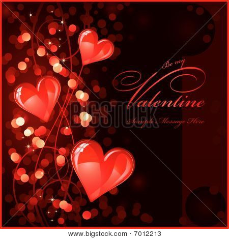 romantic background with glossy red hearts