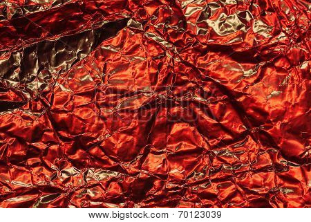 Cracked Red Metallic Foil, Christmas Background