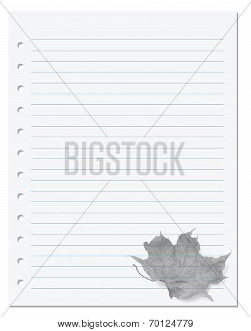 Notebook Paper With Dry Maple-leaf At Background