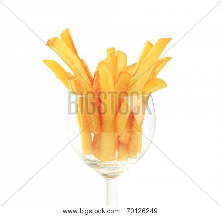 French fries in a wine glass - closeup