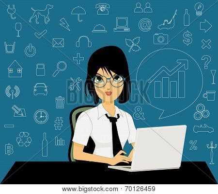 Female employees with icons