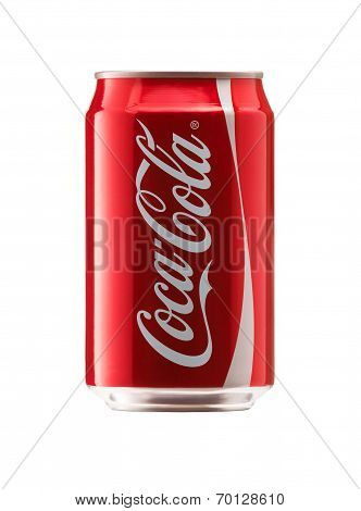 Bangkok, Thailand - JUNE 3, 2014: 330 ml. 12 ounce Classic Coca Cola Bottle Can Isolated On White