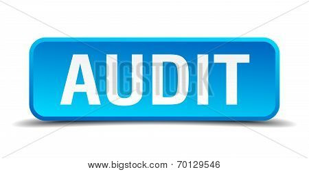 Audit Blue 3D Realistic Square Isolated Button