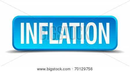 Inflation Blue 3D Realistic Square Isolated Button