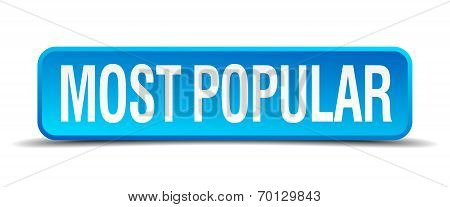 Most Popular Blue 3D Realistic Square Isolated Button