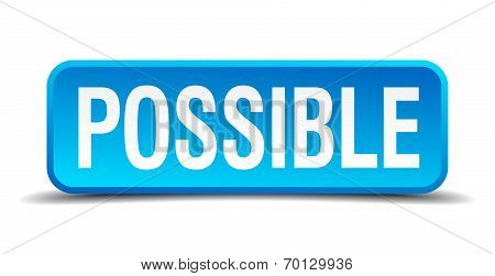 Possible Blue 3D Realistic Square Isolated Button
