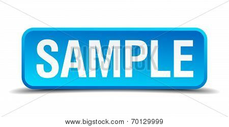 Sample Blue 3D Realistic Square Isolated Button
