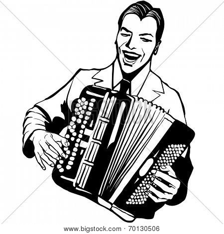 Accordion player - Vector illustration