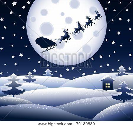 Peaceful Blue Christmas Landscape