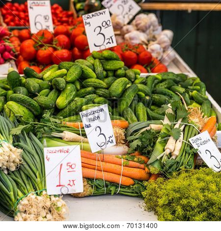 Vegetables For Sale At Local Market In Poland.