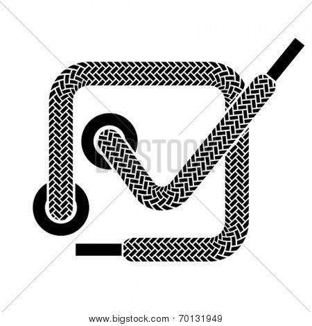 vector shoe lace checkmark symbol