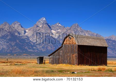 Mormon row barns in Grand Tetons national park