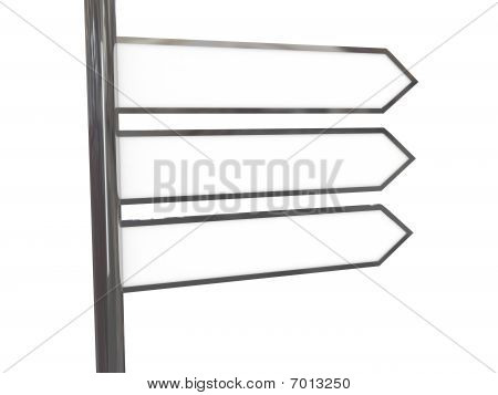 Blank Signpost Over White