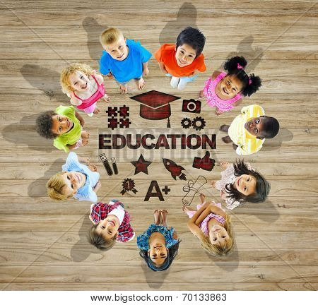 Multiethnic Group of Children with Education Concept