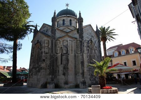 HERCEG NOVI, MONTENEGRO - JUNE 07: Ortodox church of St. Michael the Archangel in central Belavista Square, Herceg Novi, Montenegro, on June 07, 2012.