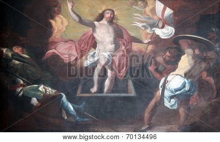 SCHONAU, GERMANY - JULY 18: Resurrection of Christ. Schonau Abbey is a monastery of Friars Minor in the village of Schonau near Bavarian village of Gemunden am Main,Diocese of Wurzburg. July 18, 2013