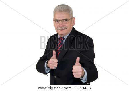 smiling senior manager posing thumbs up