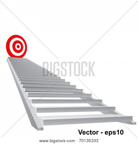 Vector concept conceptual 3d stair climbing to leader,chief or promotion on top red target isolated on white background