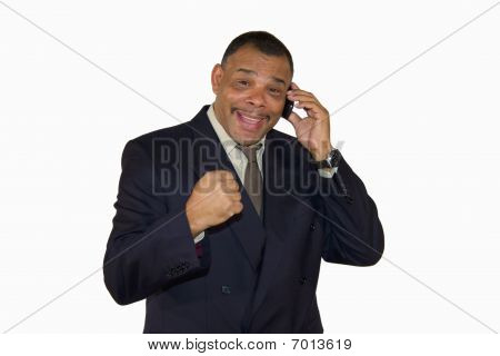 successful African-American businessman with cell phone