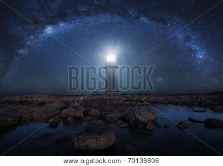 Lighthouse with the Milky Way in the background