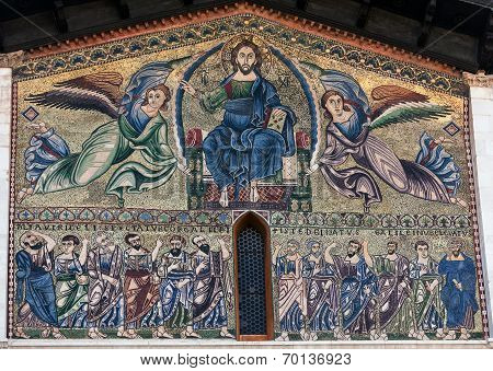 Monumental 13Th Century Golden Mosaic On The Facade Of The Basilica Of San Frediano In Lucca, Italy
