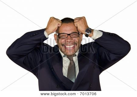 senior businessman freaking out and tearing his hair