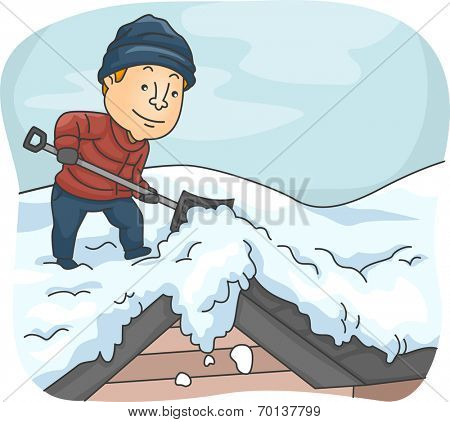 Illustration of a Man Shoveling Snow from His Roof