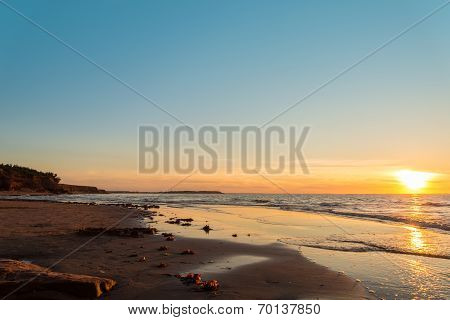 Ocean Beach At The Sunset